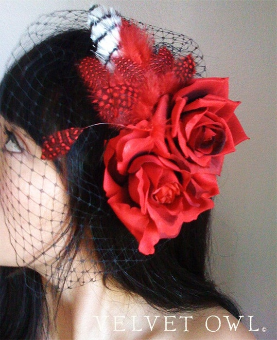 Black birdcage veil, Red Rose birdcage veil, black wedding hat, Bridal hat, Rockabilly veil, red veil, black veil, red cocktail hat,