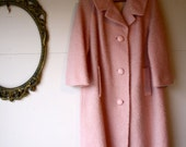 elvis's cadillac - vintage perfect pink 1960s boucle wool coat