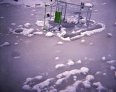 Frozen Pond Genuine Lomography Photo - 8x8 - cart, trolley, ice, snow, Christmas, winter, holidays, alternative