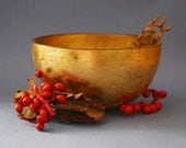 Golden Bowl Rustic Still Life Photograph - 10x8, gloss, color, wall art, home decor, poetry, red, berries, old master