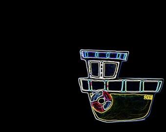 Neon Boat Digital Art Print - 10x8 - sailing, child's bedroom, bathroom decor