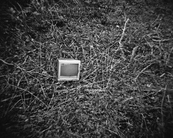 Surreal Urban Decay Scene - Genuine Lomography Film Photo - 8x8 - TV, computer monitor, ditch - geekery, conceptual