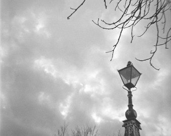 Stormy Weather Genuine Lomography Photograph - 8x8 - vintage, black and white, gray, rain, cloudy, lamp post, England
