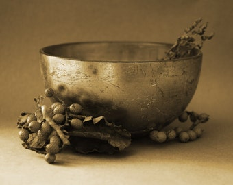 Sepia Still Life Photograph - 10x8 - Old master style, Golden bowl, vintage style, antique style