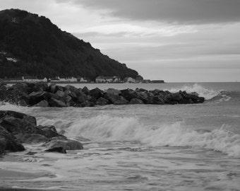 Crashing Waves - Black and White Seascape Photograph - 10x8 - landscape, monochrome, shore, beach, rocks