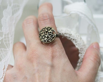 Peach blossom wire wrapped ring
