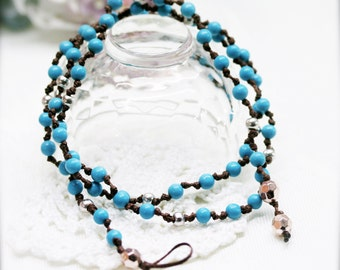 Boho turquoise blue double wrap anklet - men and women anklet