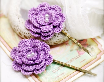Pastel purple Begonia crocheted flower bobby pin x 2