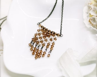Bohemian fringe necklace with amber glass crystal