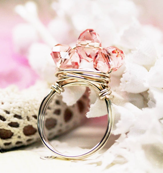 Sparkling princess crystal Tiara wire wrapped ring