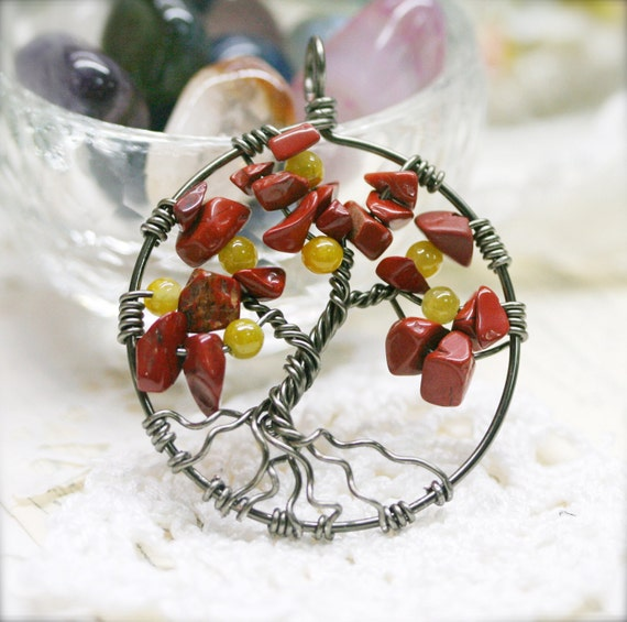 Wired Tree of Life necklace, jasper and Chinese jade