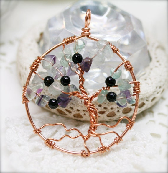 Wired Tree of Life necklace, Fluorite and agate