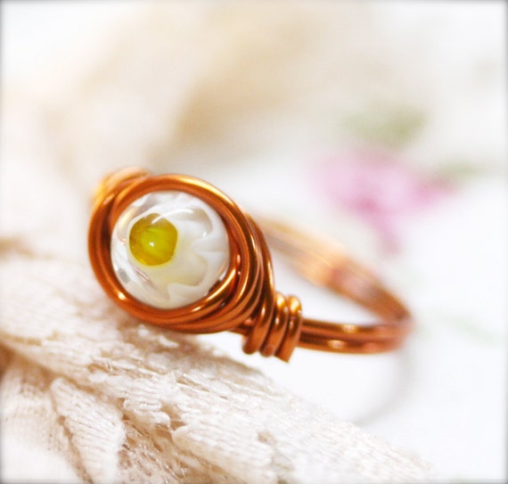 PIF - Size 5.5 - Tiny millefiori bead wire wrapped ring