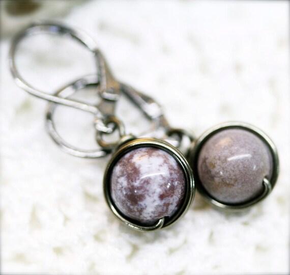 Unwind petite lavender fancy jasper wire wrap earrings - 8mm