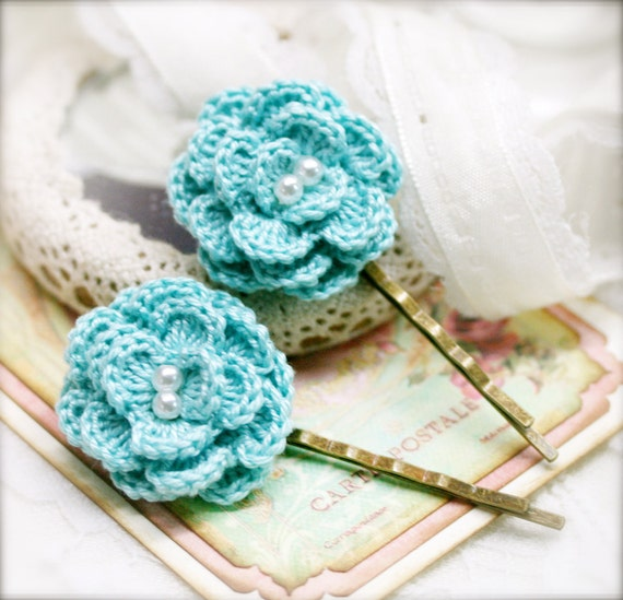 Sky blue Begonia crocheted flower bobby pin x 2