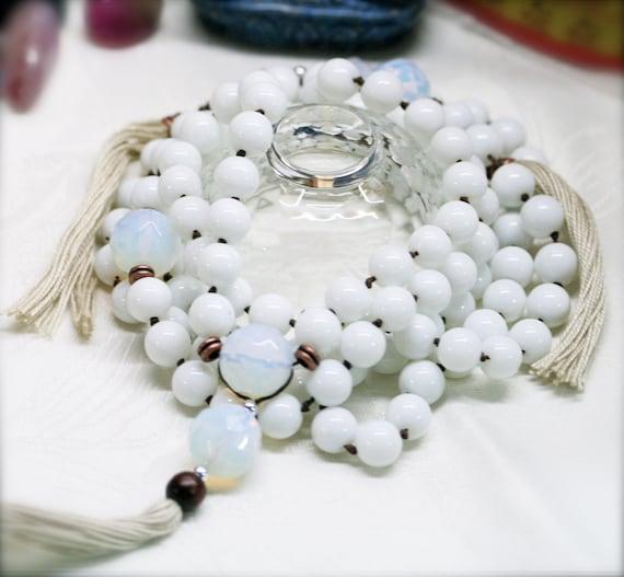 Pacifying 108 japa mala, Chinese white jade