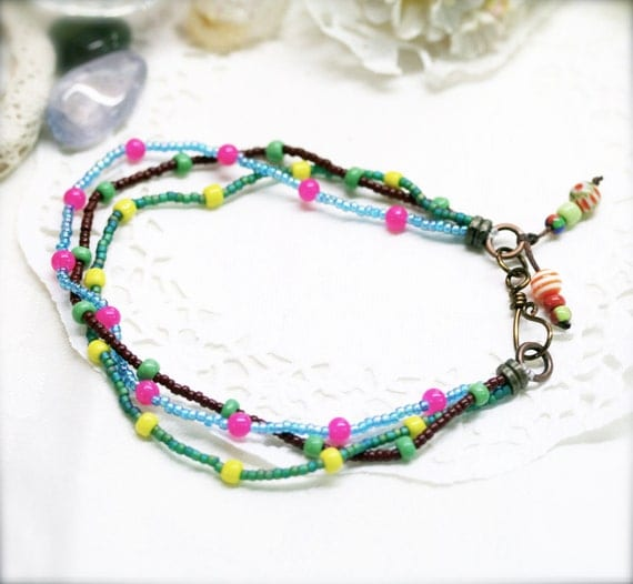 Tropical summer triple anklet