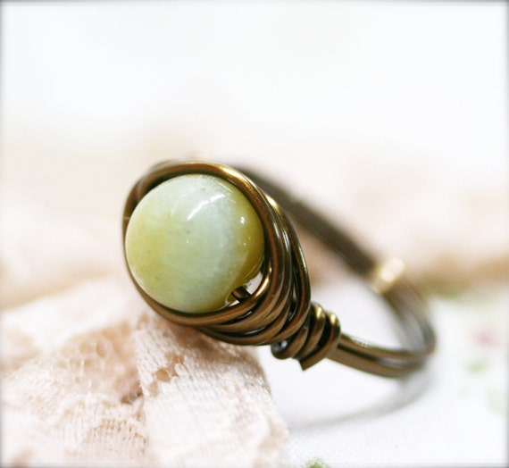 Confidence - amazonite wire wrapped ring (SR)
