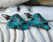 Verdigris Teal Bohemian Leaf Earrings