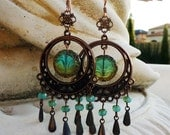 Tidal Pools Long Teal Boho Chandelier Earrings - Dangle, Antique Copper, Blue Green