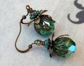 Aqua Teal  Bohemian Drop Earrings, Antique Brass, Bohemian Czech Glass, Green Blue, Christmas Earrings
