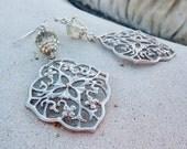 Silver Chandelier Earrings - Wedding Jewelry, Bohemian, Czech Glass, Rhodium, Filigree