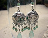 Sky Blue Chalcedony and Antique Silver Bohemian Disk Earrings