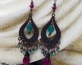 Bohemian Chandelier Earrings - Large, Antique Copper, Ruby, Briolette, Teal Czech Bohemian Glass