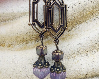 Dangle Earrings - Antique Gold, Art  Deco, Bohemian Czech Glass, Purple, Lavender