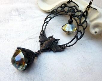 Antique Brass Art Deco Necklace t, Bee Jewelry, Black Brass, Sapphire Blue