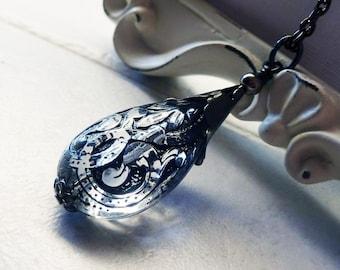 Black Lace Pendant Necklace - Teardrop, Lucite, Crystal, Black, Etched, Ornate,