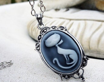 Retro Kitty Pendant  Necklace - Cameo, Cat, Kitty, Long Chain, Antique Silver