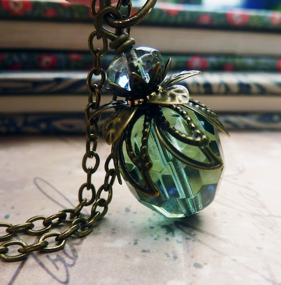 Teal Crystal Pendant Necklace