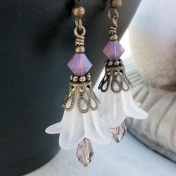 Bohemian Flower Dangle Earrings - White, Antique Brass, Pink, Purple, Drop