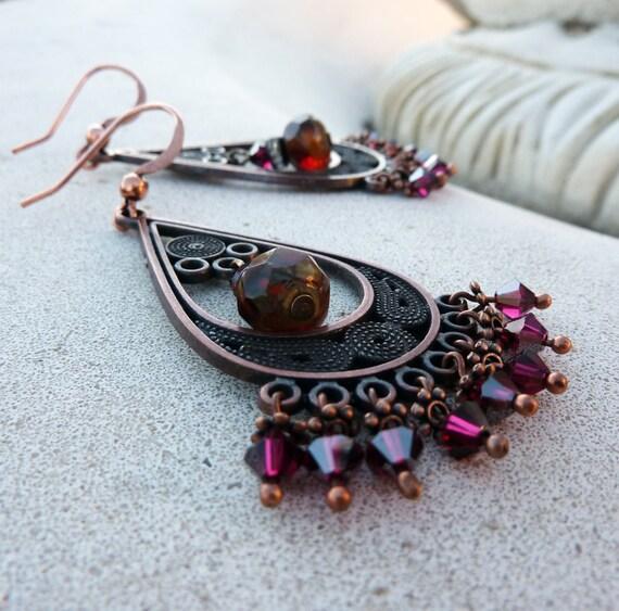 Bohemian Chandelier Earrings - Ruby, Fucshia, Orange, Swarovski Crystal, Czech Glass, Antique Copper, Dangle, Gift for Her,