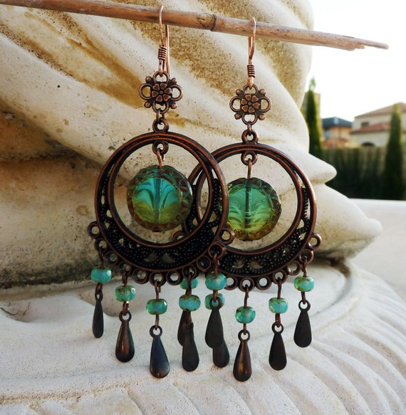 Tidal Pools Long Teal Boho Chandelier Earrings - Dangle, Antique Copper, Blue Green