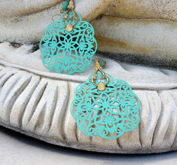 Valentine Sale - 13% off all items Large Aqua Bohemian Earrings, Filigree, Patina