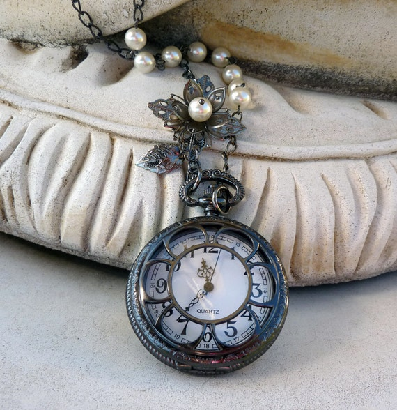 Valentine Sale - 13% off all items Gunmetal and Pearl Skeleton Pocket Watch Locket Necklace