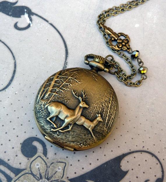Valentine Sale 13% off all items -  Woodland Deer Pocket Watch Necklace - Locket, Charm, Long, Antique Brass, Nature