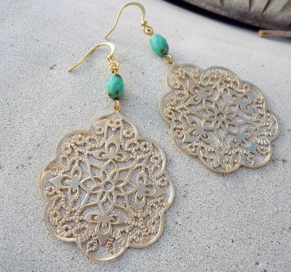 Silk Road - Bohemian Chandelier Earrings - Large, Gold, Filigree,  Czech Glass, Turquoise, Blue