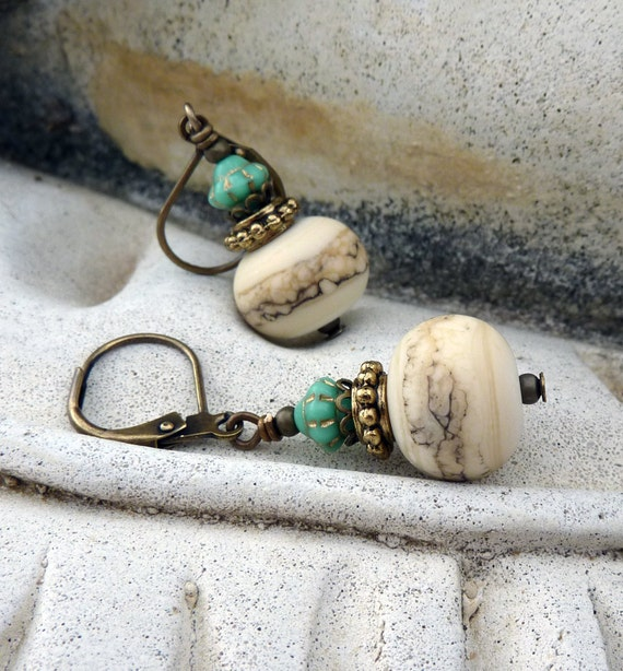 Ivory and Turquoise Lampwork Earrings