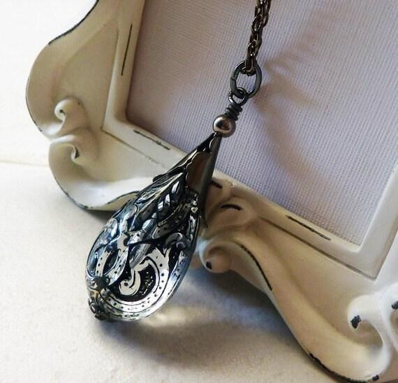 Black Drop Pendant , Teardrop Pendant, Cystal and Black Necklace, Long Chain Necklace, Gunmetal Black