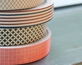 Lovely Grid Pattern Paper Tape - 15mm (single roll - you choose which one )