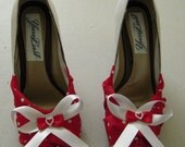 RESERVED FOR LARISSA Retro-revival red-and-white polkadot peeptoes sz 8 1\/2