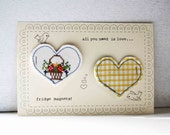 all you need is love vintage fabric heart magnets in yellow