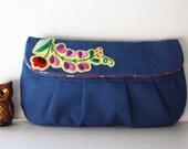 custom listing for Leremey Amili blue canvas floral folk clutch