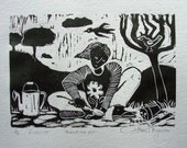 Gardening linoprint, an original edition print.