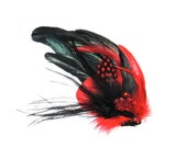 Red and Black Feather Bridal Hair Fascinator
