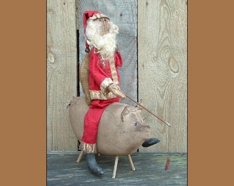 Primitive Folk Art Santa pig instant dowload pattern OFG HAFAIR cloth doll pattern 331