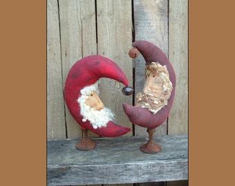 Primitive Folk Art Moon Santa Make do instant download sewing pattern HAFAIR OFG